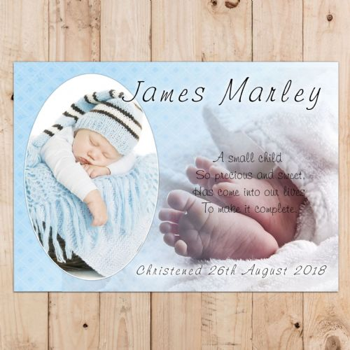 Boys Personalised Christening Baptism Celebration PHOTO Poster Banner N19